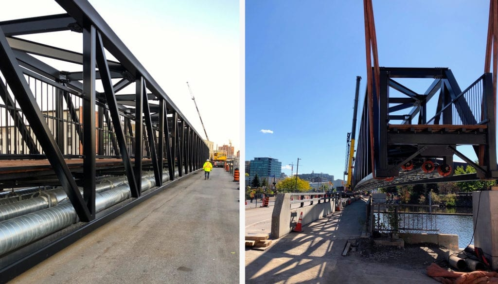 Assembly and installation of Zibi pedestrian utility bridge in Ottawa