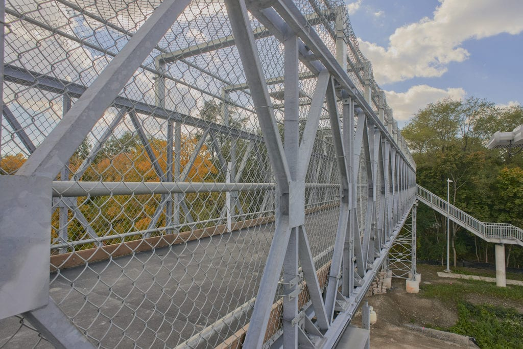 Close-up view of new pedestrian bridge safety mesh